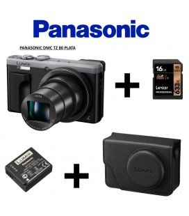 PANASONIC TZ 80 SILVER + RETRO CASE + BATTERY +16 GB  95MBS