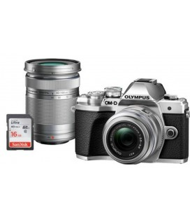 OLYMPUS E-M10 Mark III DZK IIR (1442 IIR + 40150R) SILVER + CASE + 16GB SD UHS-I EXCLUSIVE KIT ONLY CANARY ISLANDS