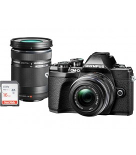OLYMPUS E-M10 Mark III DZK IIR (1442 IIR + 40150R) ARGENTO + CASSA + KIT ESCLUSIVO UHS-I SD 16GB SOLO ISOLE CANARIE