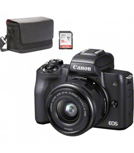 CANON KIT M50  NEGRA + 15-45MM + FUNDA CANON + SD 16GB